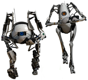 Co-op bots Atlas and P-body, in Portal 2.