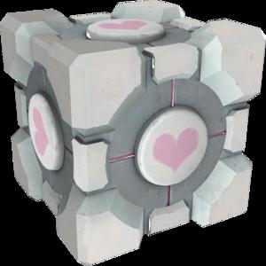 重量同伴方塊在傳送門1代中登場的樣子。