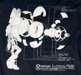 Blueprint of Atlas on a shirt.