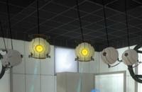 Torreta de suelo en la version prerelease de Portal 2.