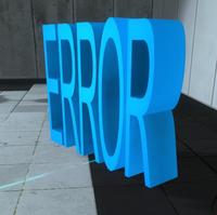 La torreta de suelo en la version retail de Portal 2, creada a través de la consola del desarrollador