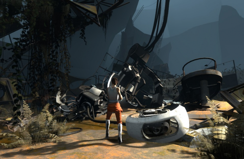 File:Chell and Dead GLaDOS Size Comparison.png